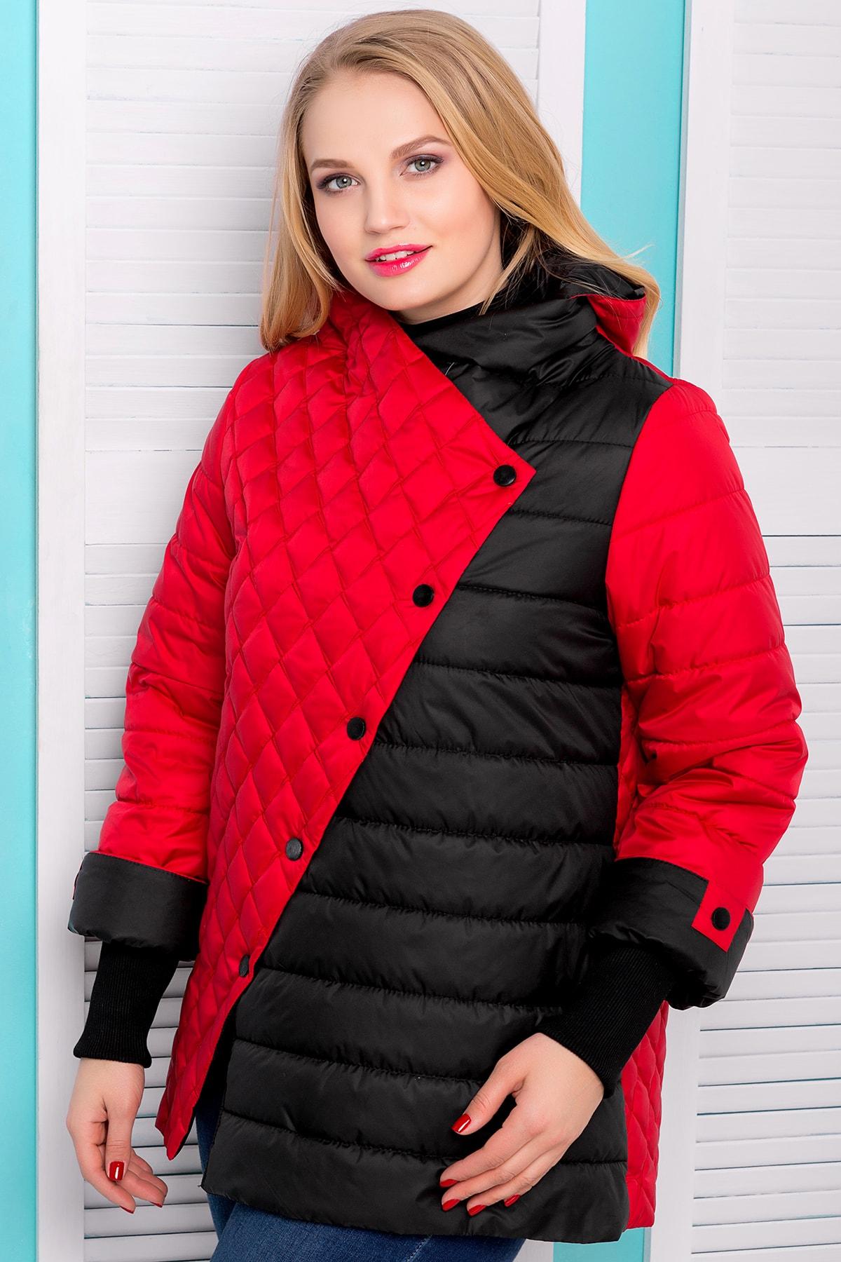 Куртка красно-черная демисезонная ева с трикотажным манжетом