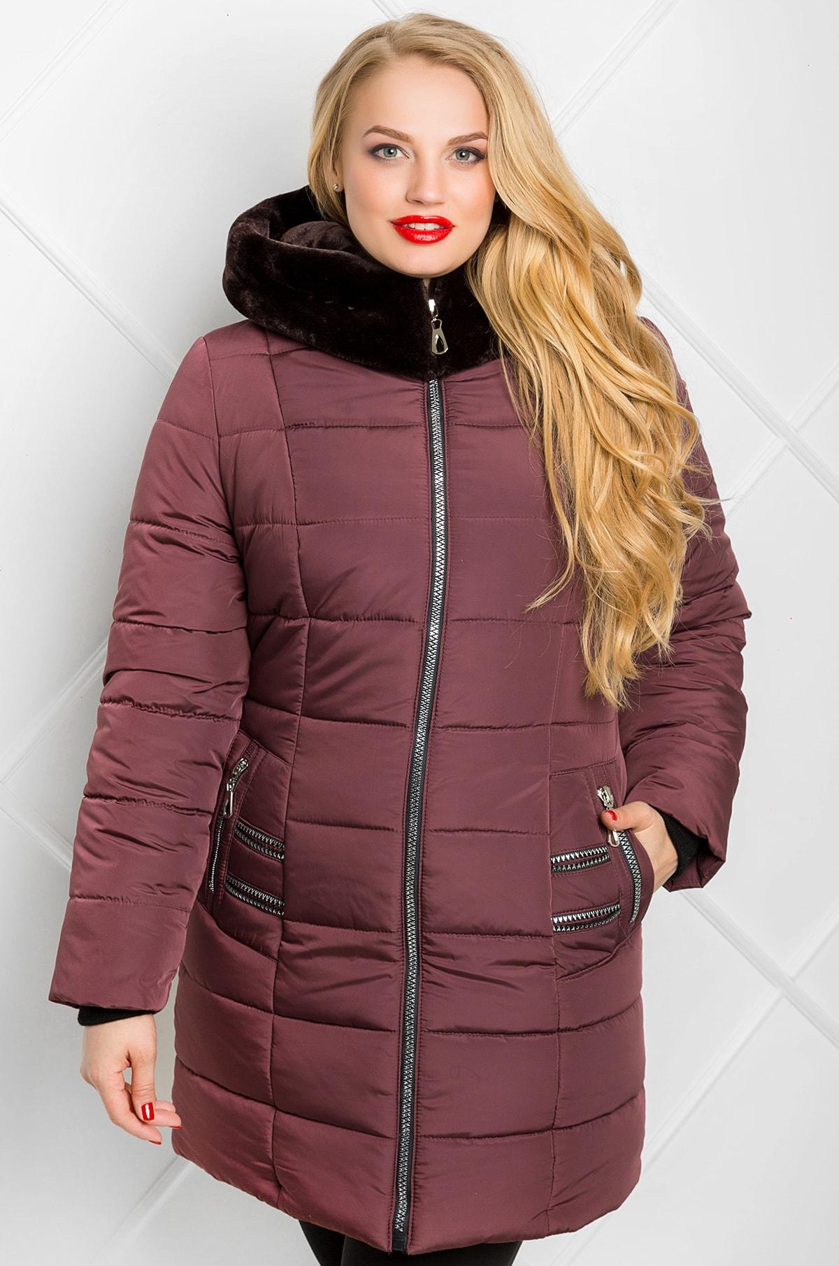 Пальто пуховик зимнее из плащевки КМ-2 цвета марсала с капюшоном ... 8c24977e00546