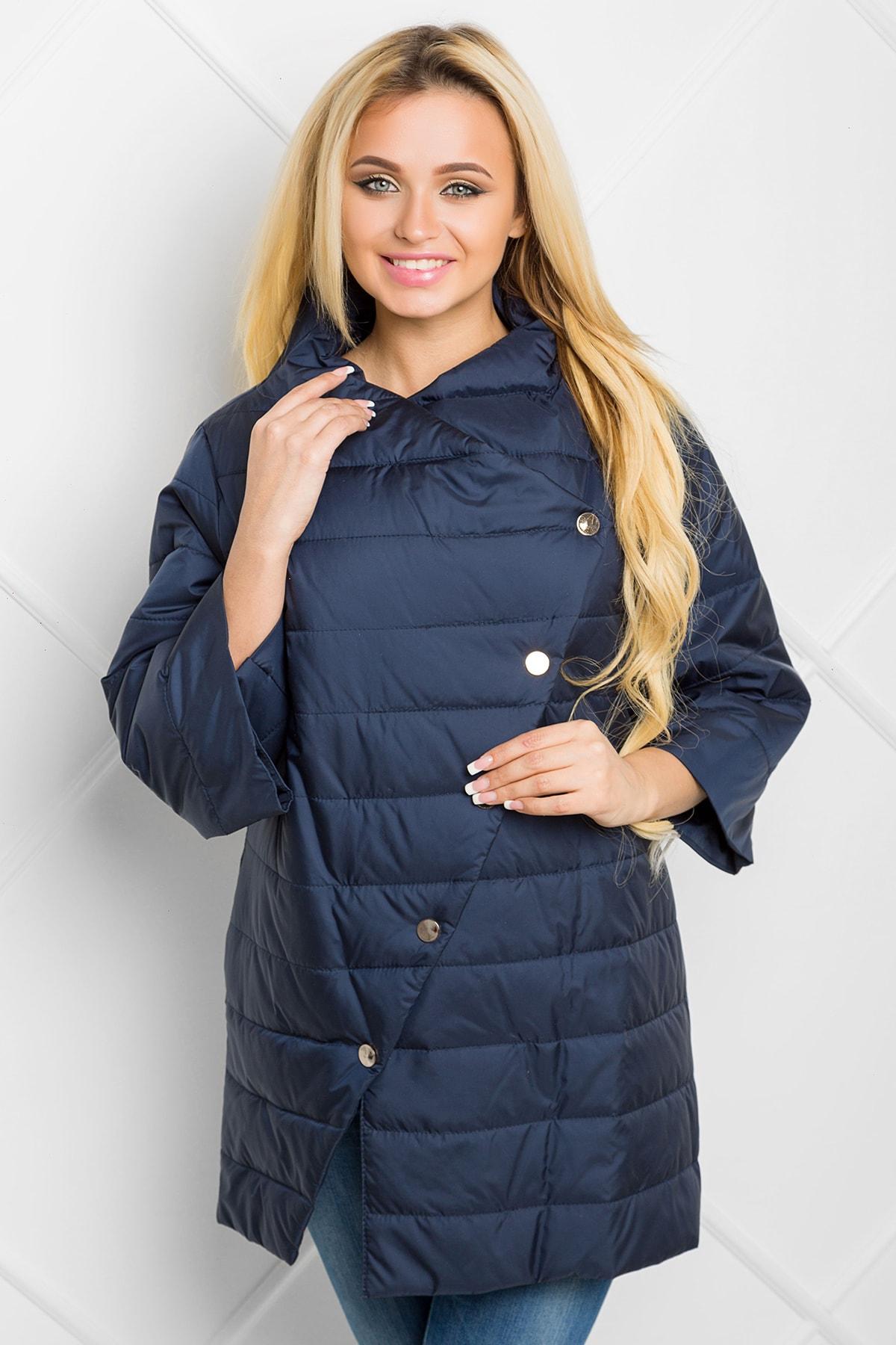 938d1b79ac0 Купить темно-синюю недорогую женскую осенне-весеннюю куртку с рукавом 3 4