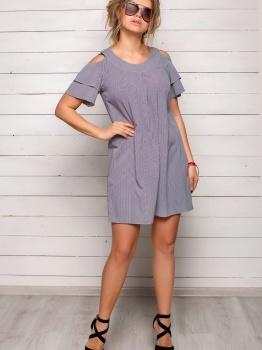 Полосатое серое легкое платье Софи