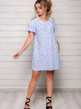 Голубое летнее платье Софи с музыкальным принтом