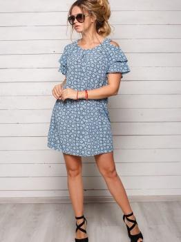 Серо-голубое платье Софи с узором