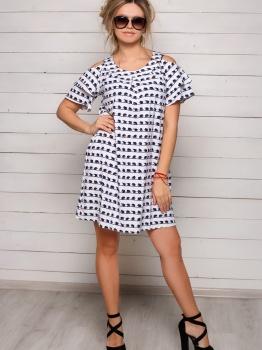 Летнее белое платье Софи с мелким принтом