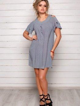 Полосатое серое легкое платье